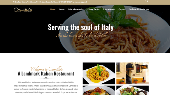 Camille's Restaurant website image