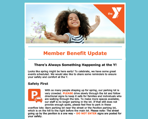 YMCA Of Pawtucket E-blast